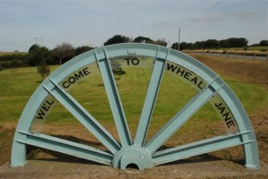 Welcome wheel at Wheal Jane entrance